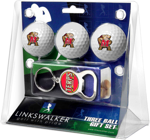 Maryland Terrapins 3 Ball Gift Pack with Key Chain Bottle Opener