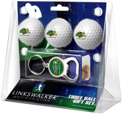 North Dakota State Bison 3 Ball Gift Pack with Key Chain Bottle -  Opener