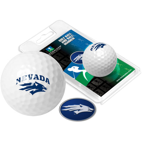 Nevada Wolfpack Golf Ball One Pack with Marker