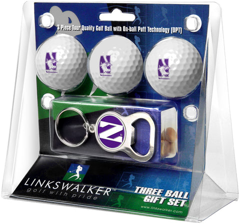 Northwestern Wildcats 3 Ball Gift Pack with Key Chain Bottle -  Opener