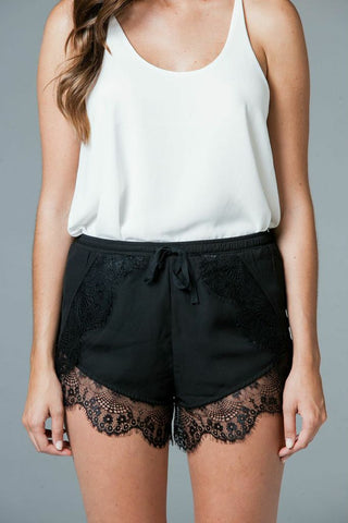 Lace Trimmed Drawstring Shorts
