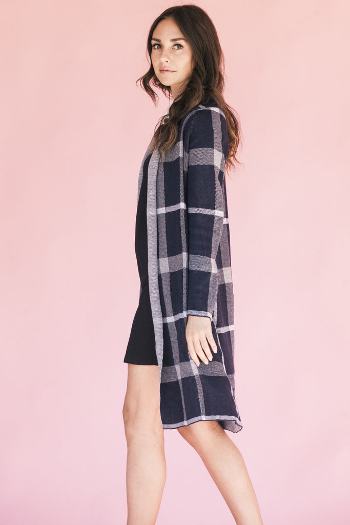 Checkered Past Long Cardigan - NTYLS