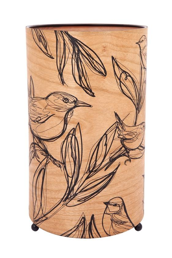 Bird Sketch Cylinder Timber Lamp