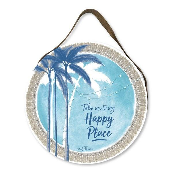 Happy Place Palm Beach Round Wall Hanging Wall Hangings Lisa Pollock House Of Little Dreams