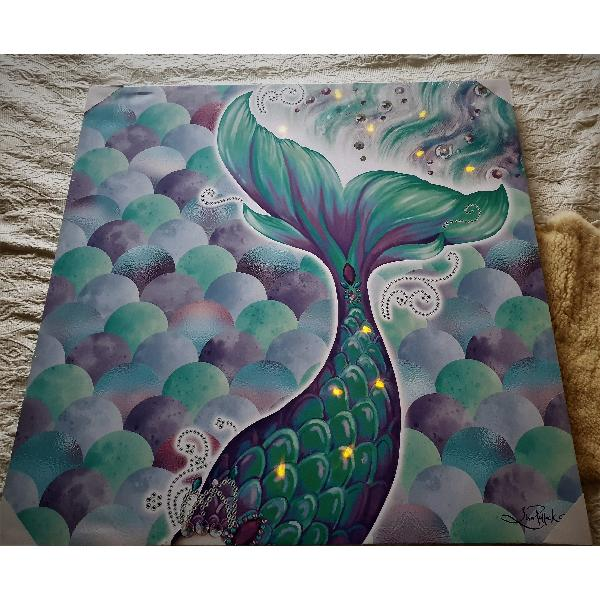 Mermaid Canvas LED Wall Art 80cm