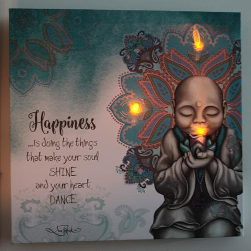Happiness Mindful Soul LED Canvas