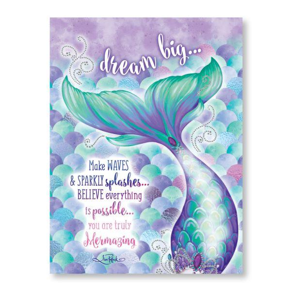 Dream Big Mermaid LED Canvas 30x40cm Wall Hangings Lisa Pollock House Of Little Dreams