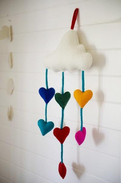 Felt cloud mobile with rainbow hearts Mobiles Rainbows and Clover House Of Little Dreams