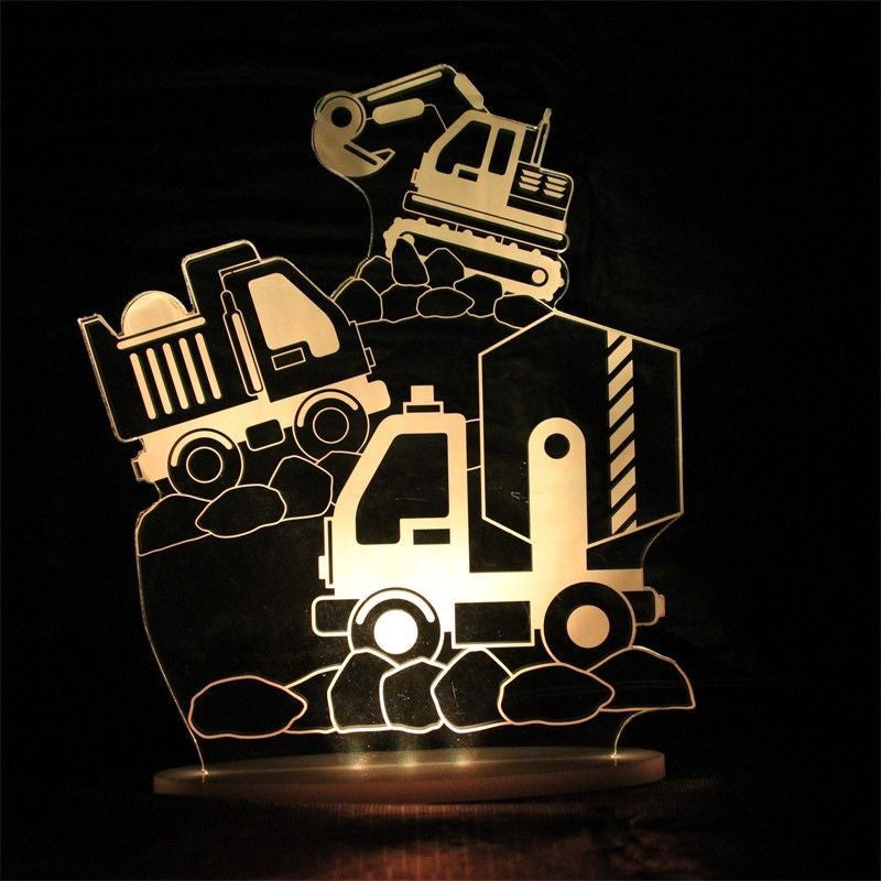 Construction Digger Truck Night Light in Orange