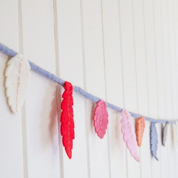 Felt Feather Garland - Galah Garland Rainbows and Clover House Of Little Dreams