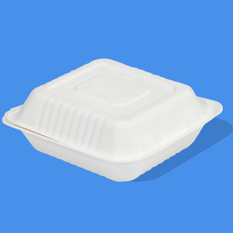"8""x 8"" Bagasse Clamshell"