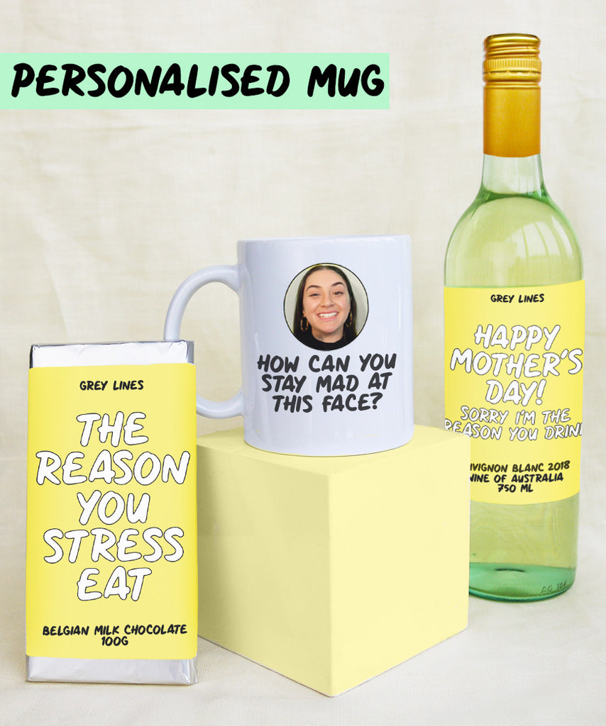 Happy Mother's Day Gift Pack (Wine, Chocolate, Personalised Mug)