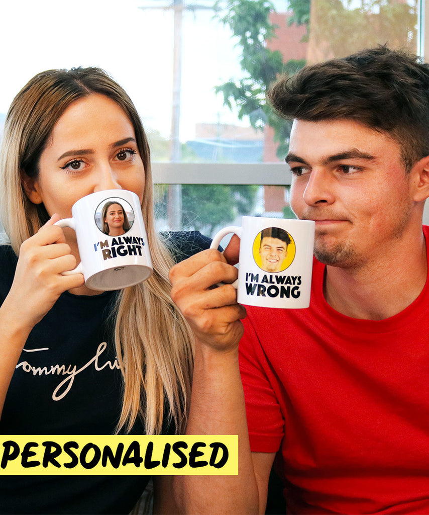 I'm Always Right & I'm Always Wrong Set (Personalised Mugs)