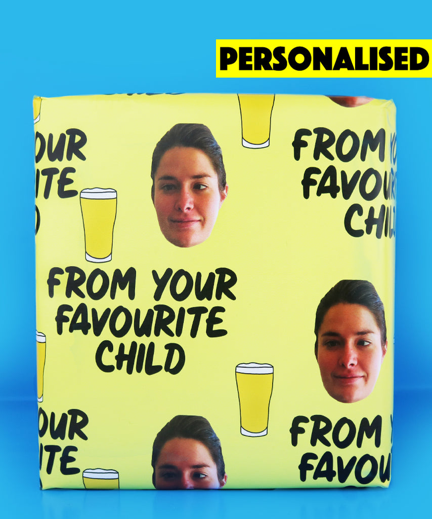 "Personalised Face ""From Your Favourite Child"" Fathers Day Wrapping Paper"