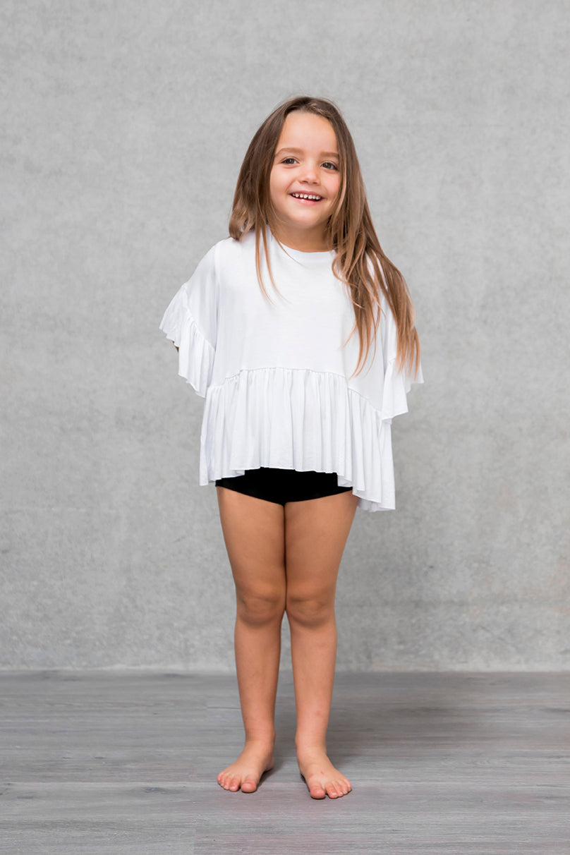 Frill Box Crop Kids - Cloud