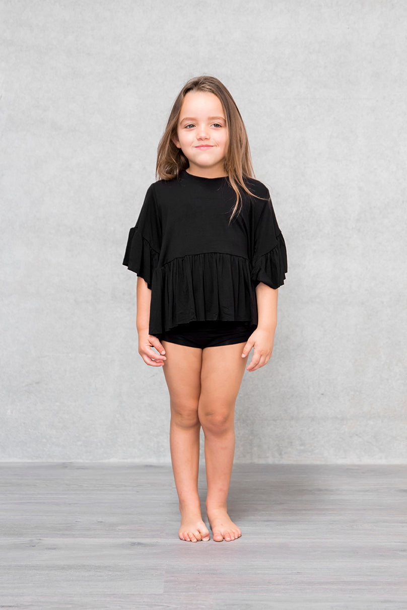 Frill Box Crop Kids - Raven
