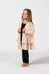 Double Frill Coat Kids - Sandstone French Terry