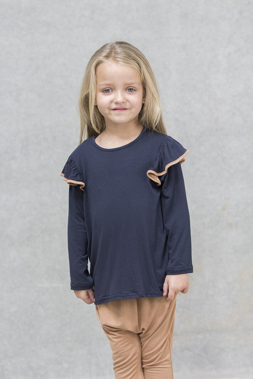 Ruffle Top Kids - Deep navy with Caramel Trim
