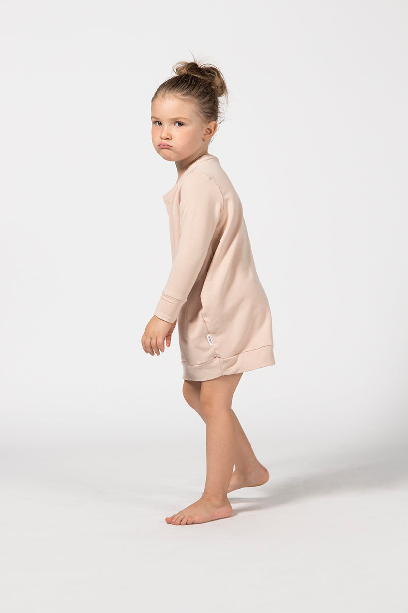 Oversized Jumper Dress Kids - Sandstone French Terry
