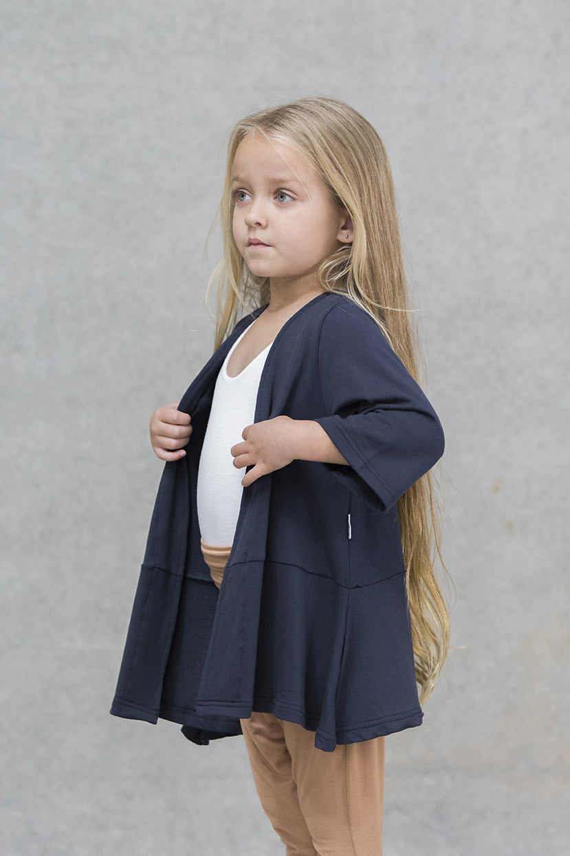 Box Coat French Terry Kids - Deep Navy