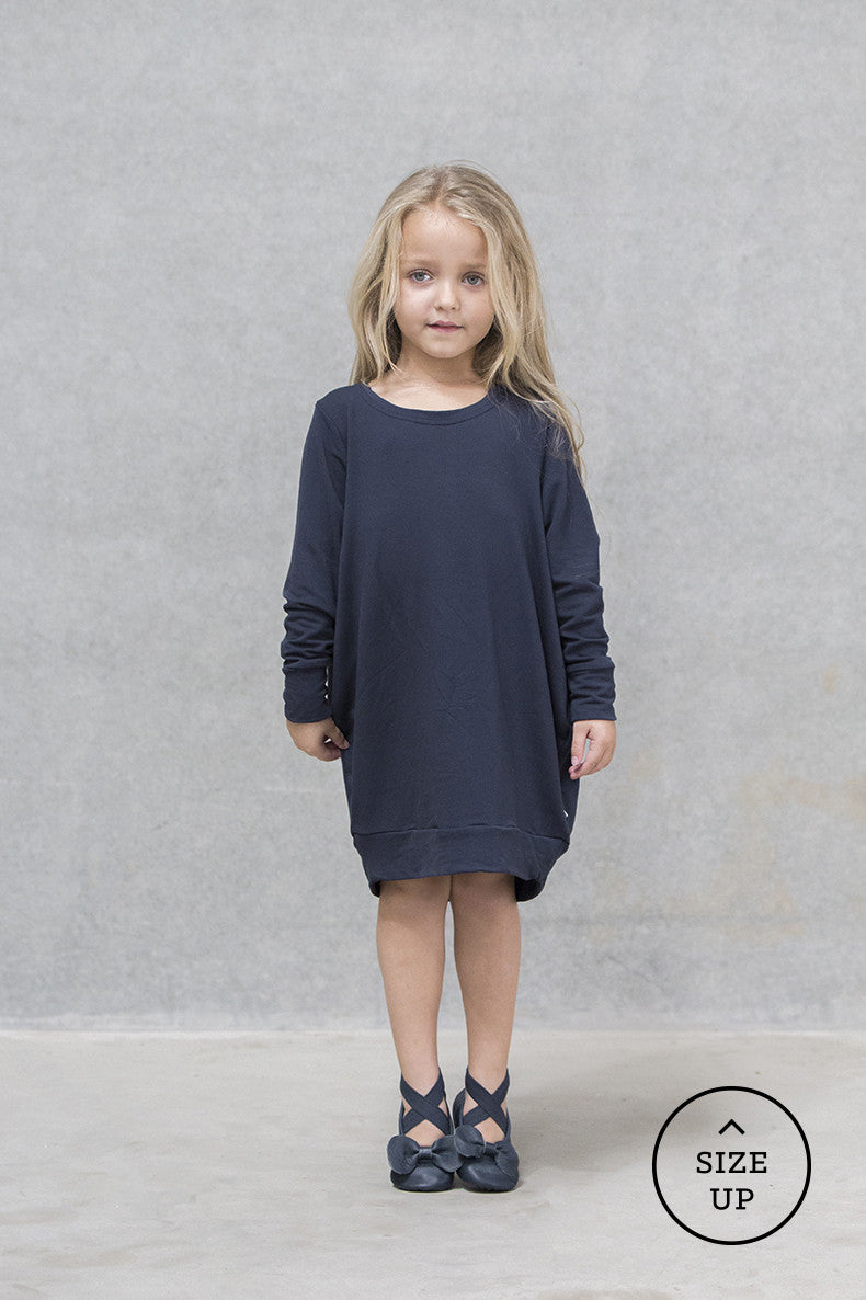 Oversize Jumper Dress French Terry - Deep Navy