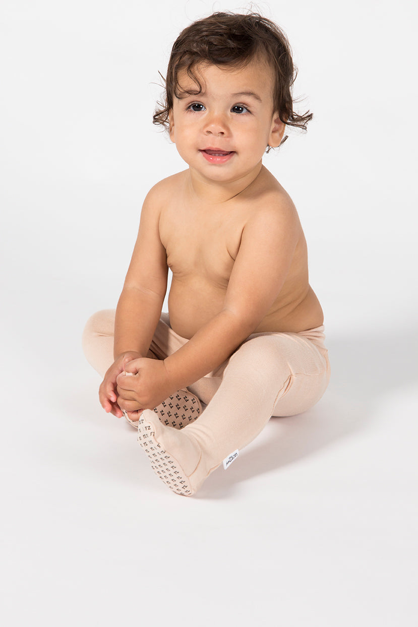 Baby Footed Leggings - Sandstone French Terry