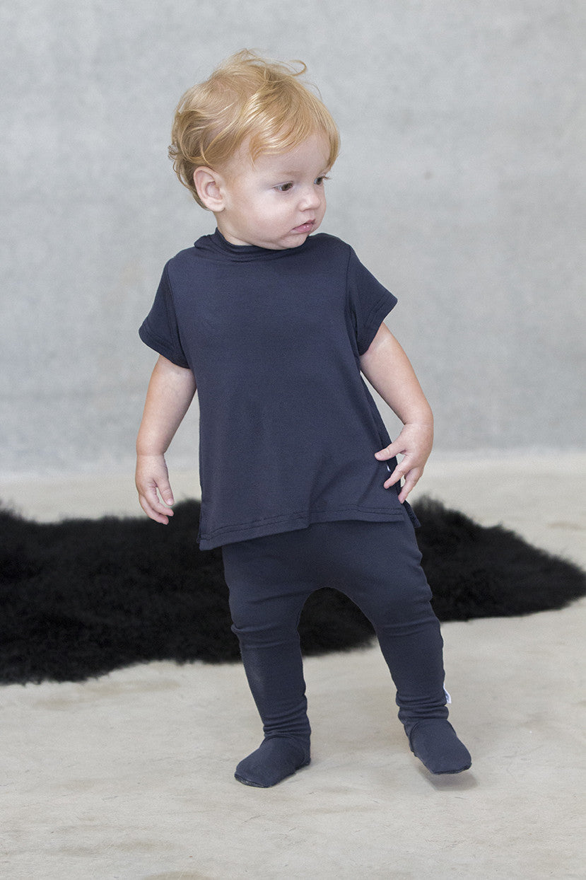 Footed Leggings Kids - French Terry Navy