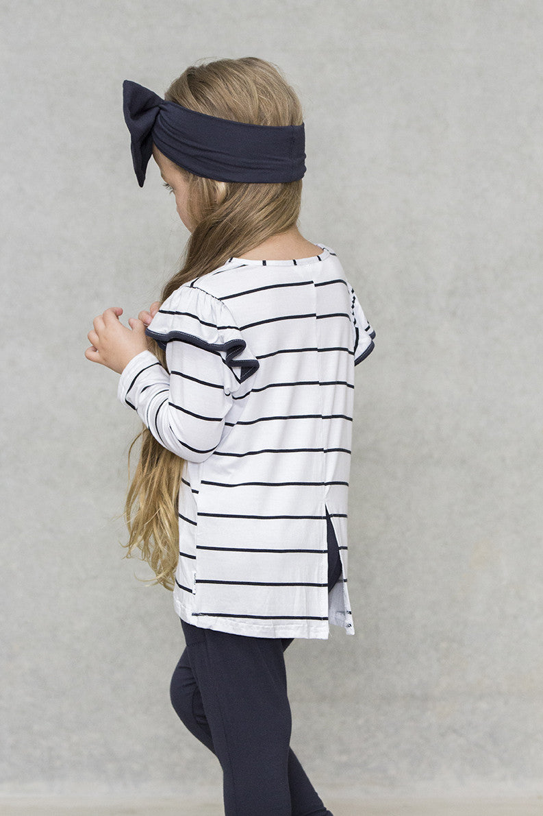 Ruffle Top Kids - Holiday with Navy Trim