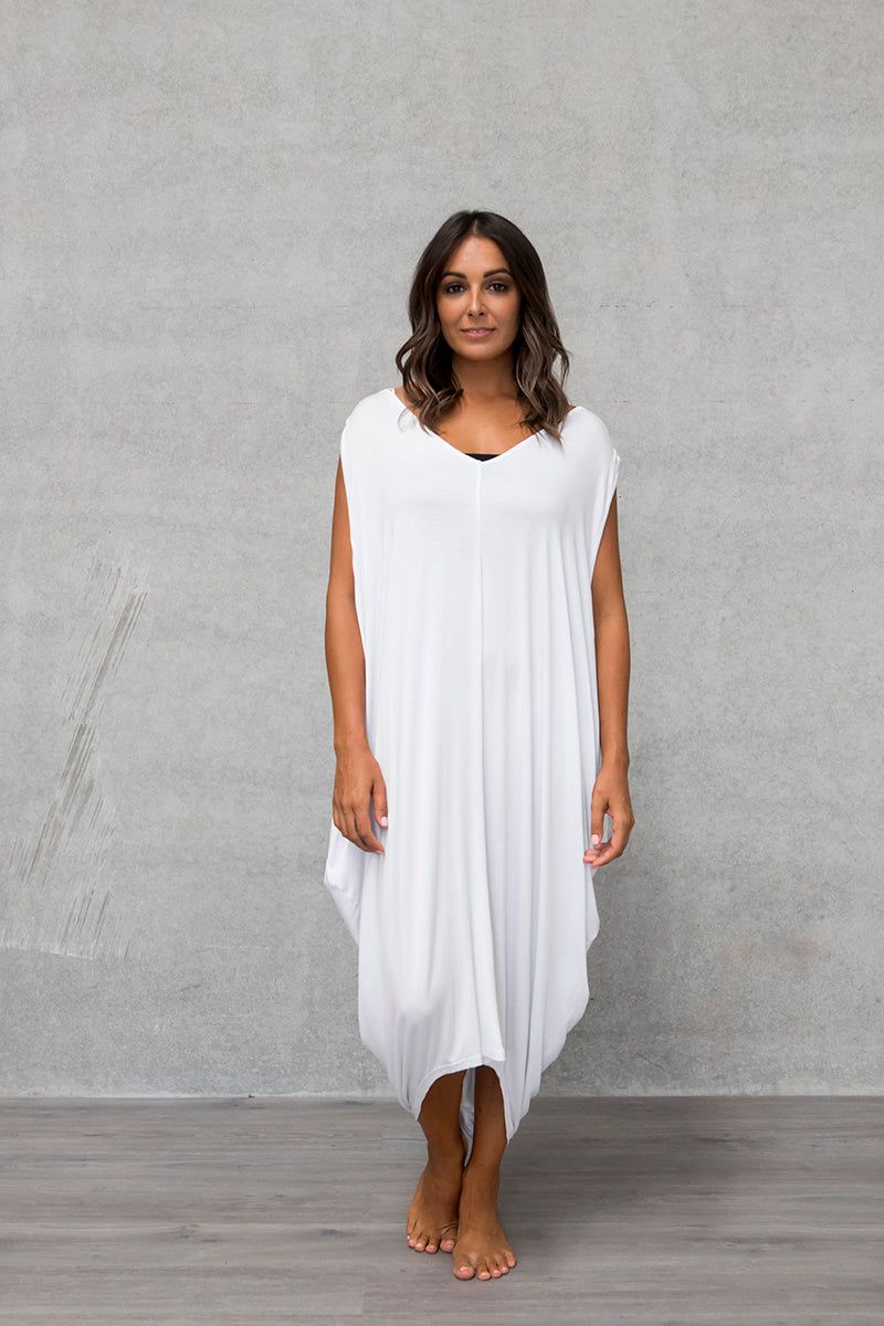 Sleeveless Drape Dress - Cloud