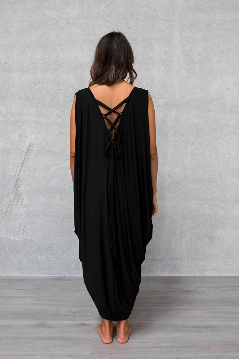 Sleeveless Drape Dress - Raven