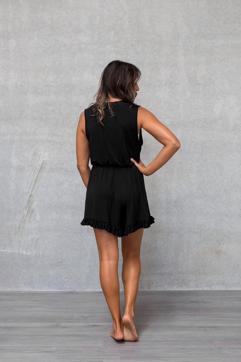 Frill Playsuit - Raven