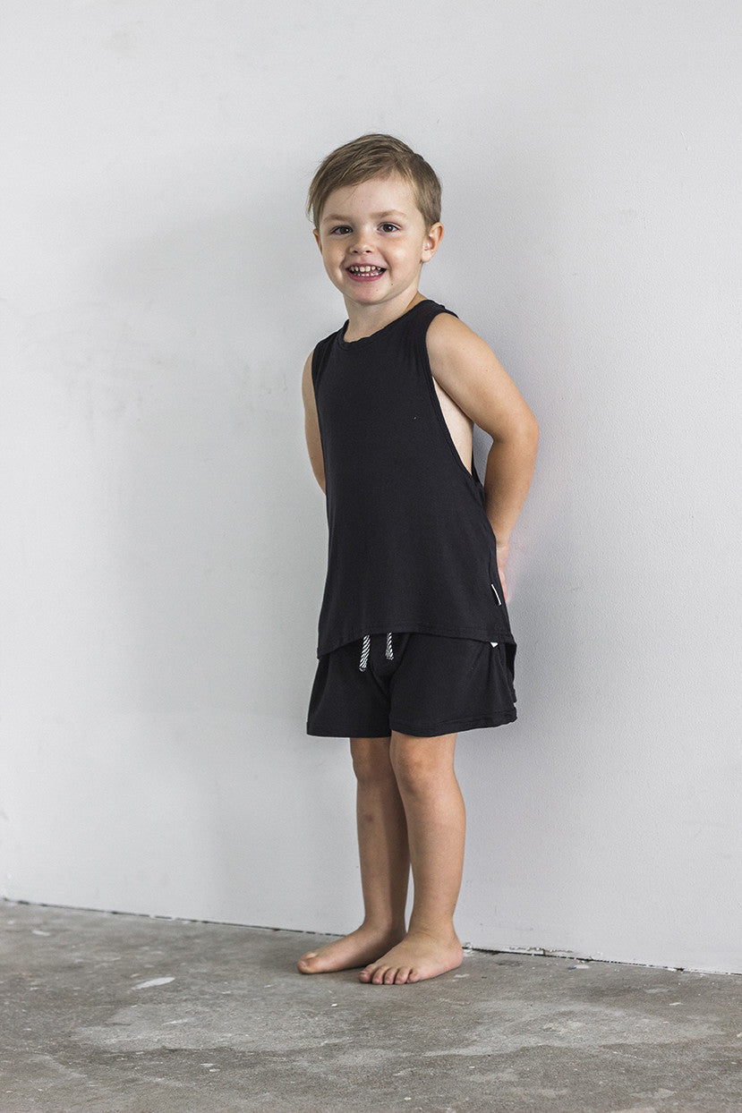 Racer Singlet Black - Kids