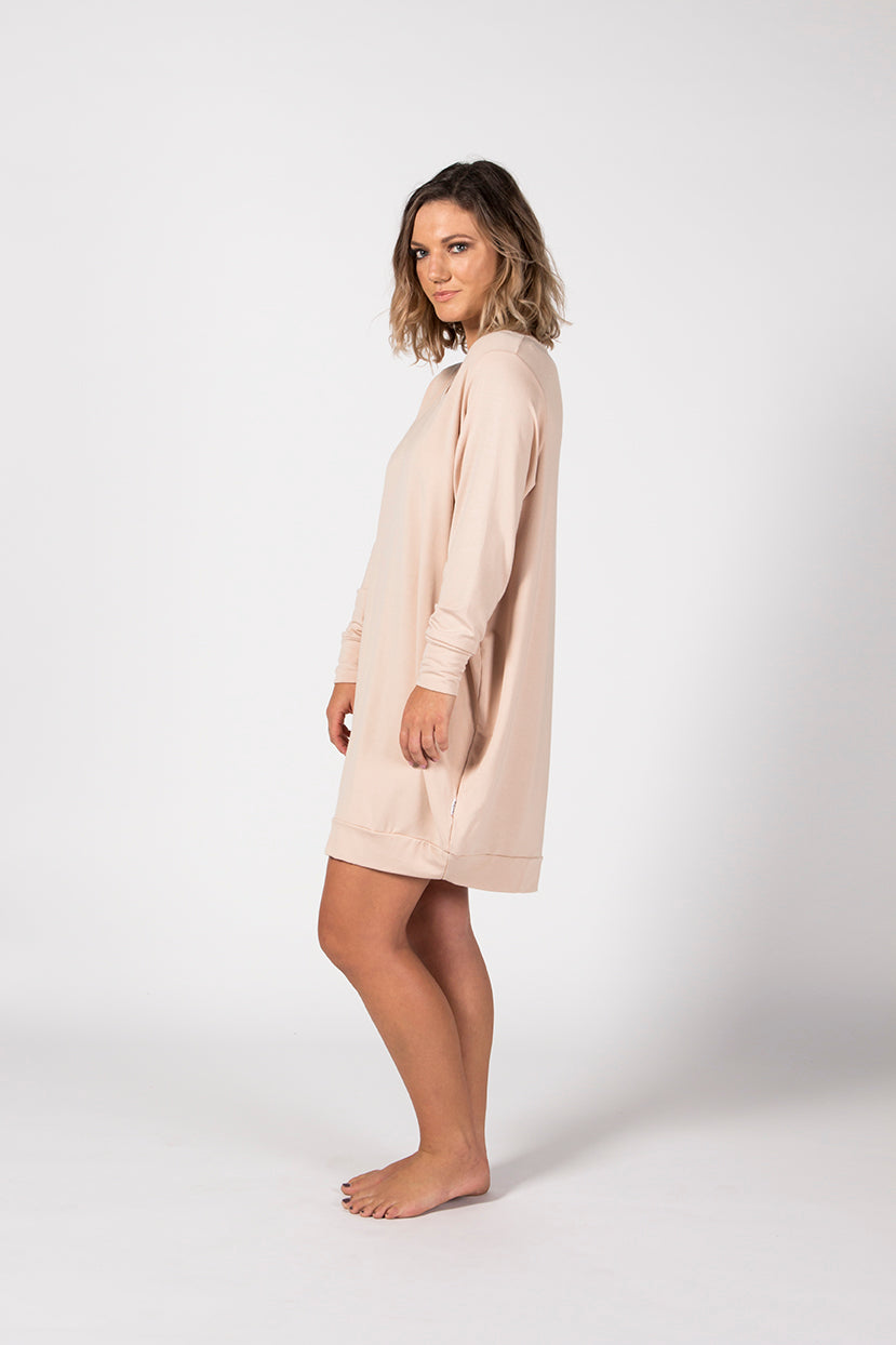 Oversized Jumper Dress - Sandstone French Terry