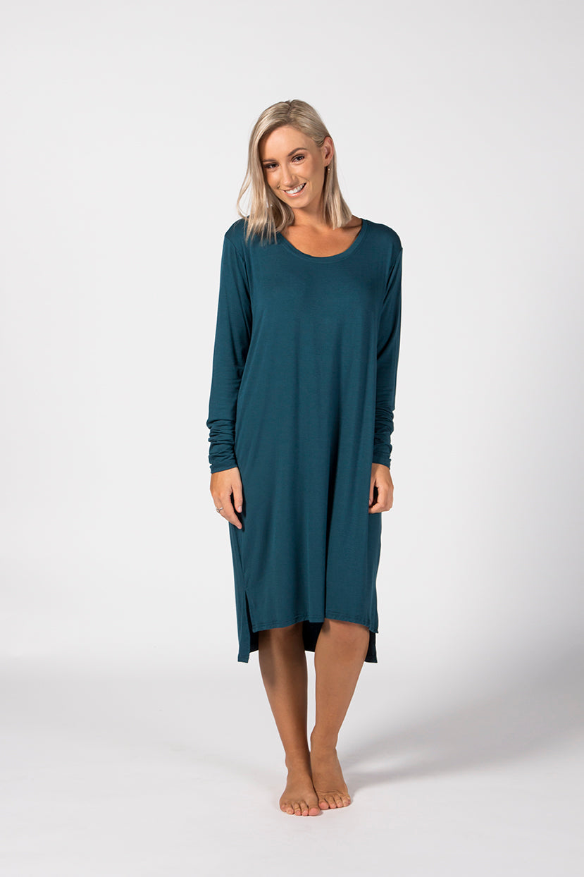 LS Tee Dress - Emerald