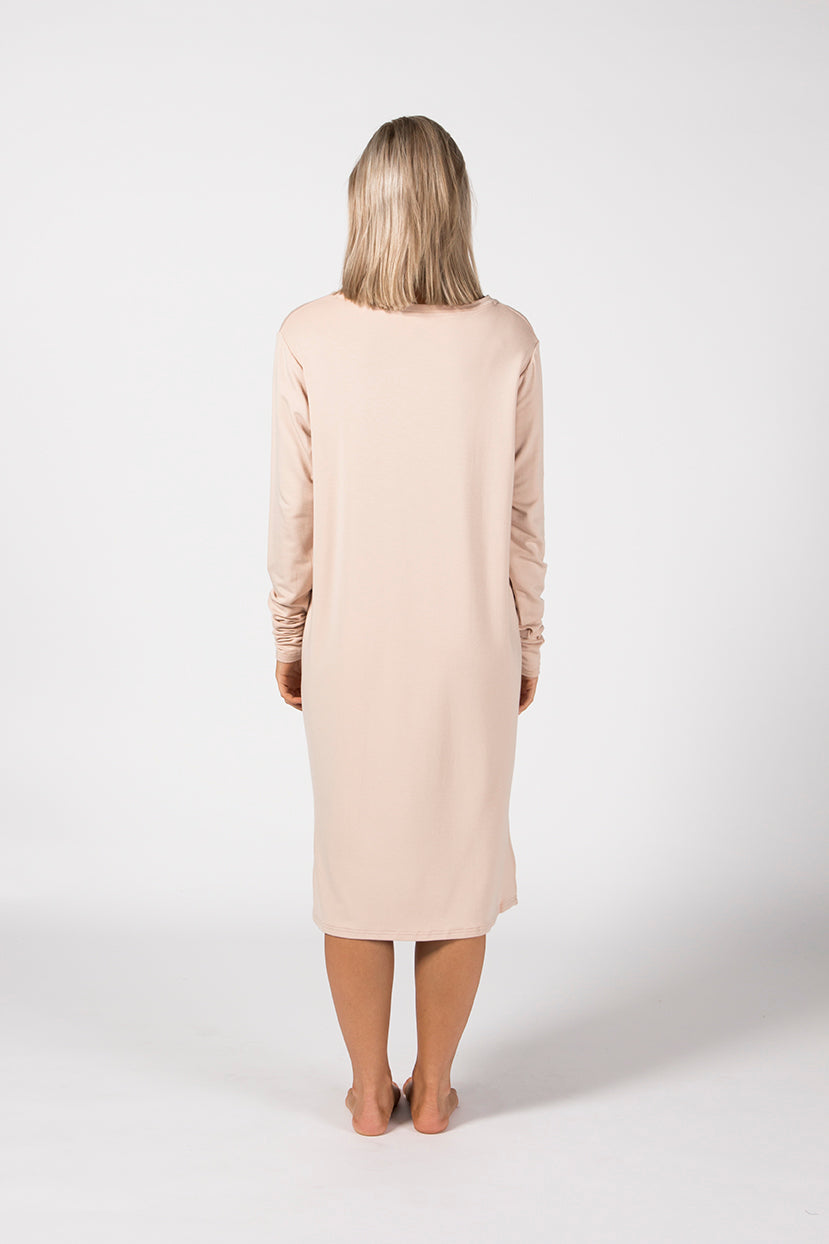 LS Tee Dress - Sandstone French Terry