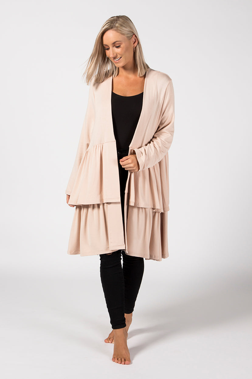 Double Frill Coat - Sandstone French Terry