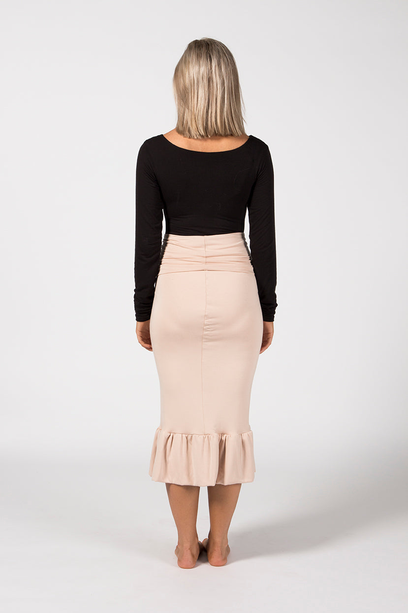 Ruffle Pencil Skirt - Sandstone French Terry