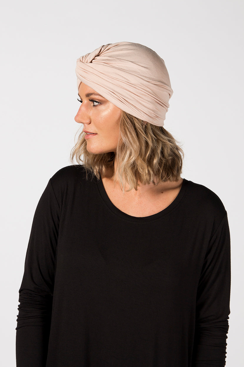 Turban Beanie - Sandstone French Terry