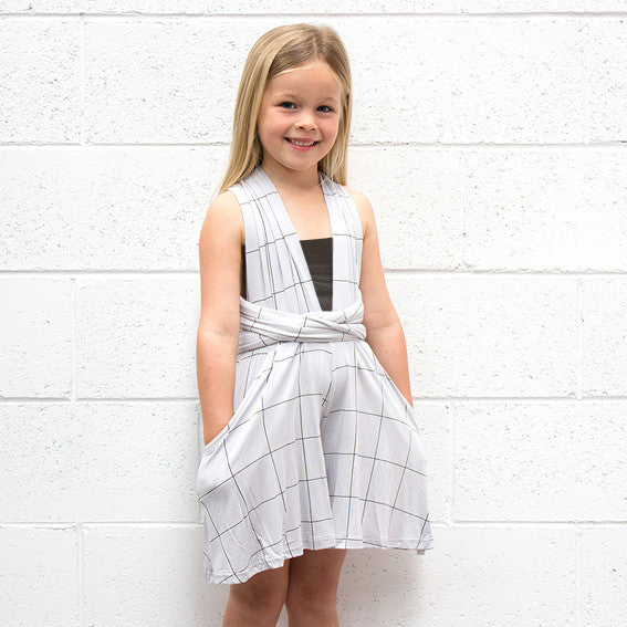 KIDS Grey Grid Playsuit