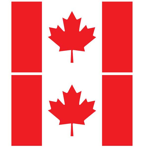 "Canada Flag Decal 6"" x 3.5"" Set of 2, click to see available colors."