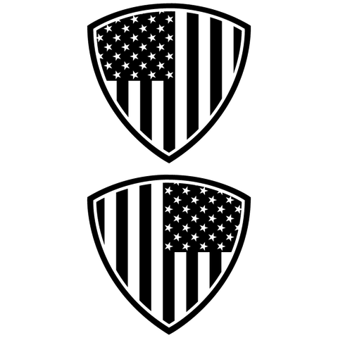 "American Flag Shield Decal 5"" x 5"" Set of 2, click to see available colors."