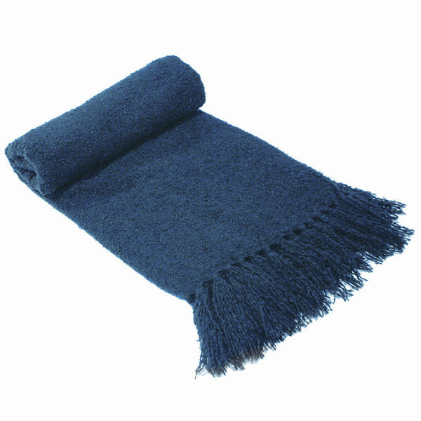 Boucle Throw Rug Denim