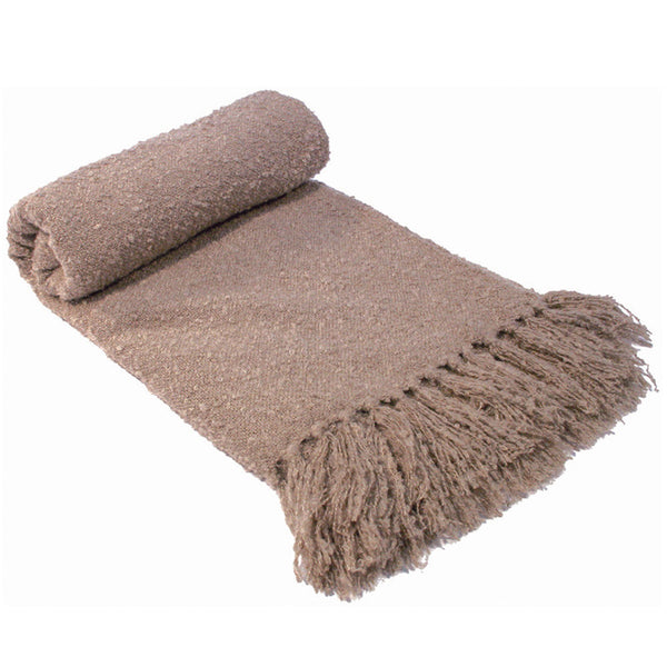 Boucle Throw Rug Latte