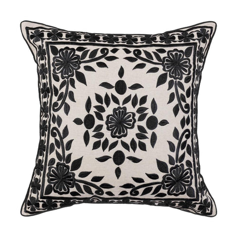 Black Casablanca Embroidered Cushion