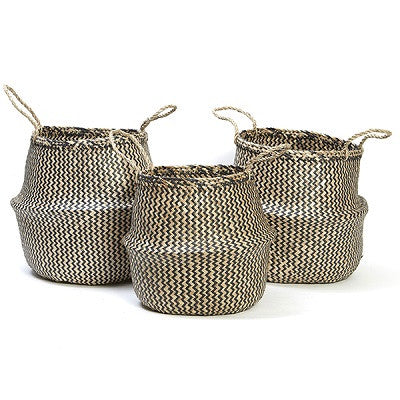 Seagrass Belly Basket Set Black - Natural