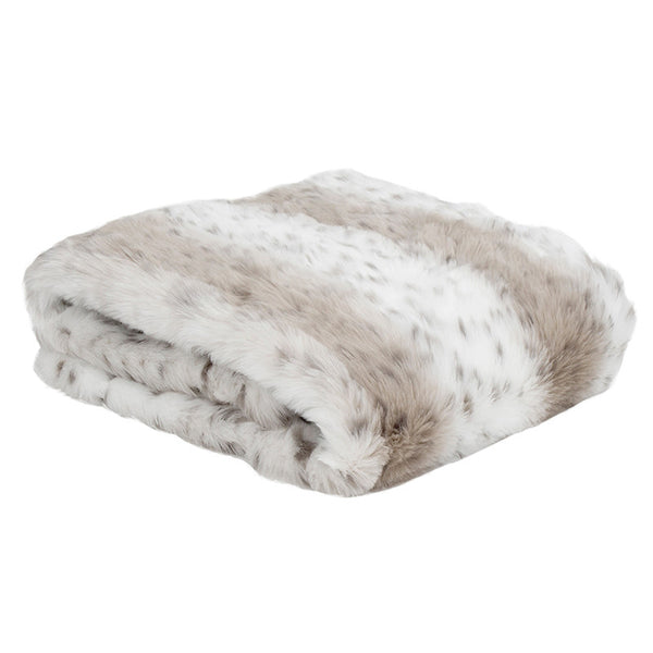Faux Fur Throw Rug Snow Leopard