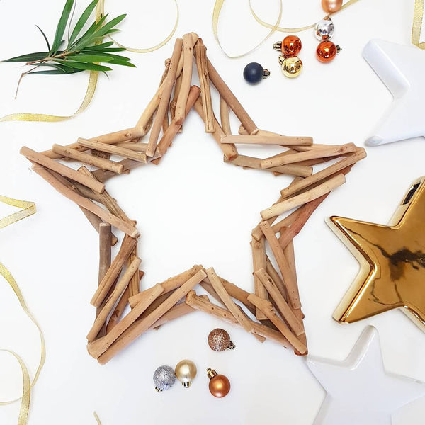 Wooden Star Decoration 39cm