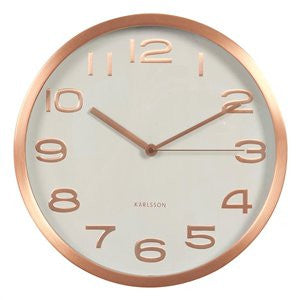 Wall Clock Maxie - White With Copper Numbers