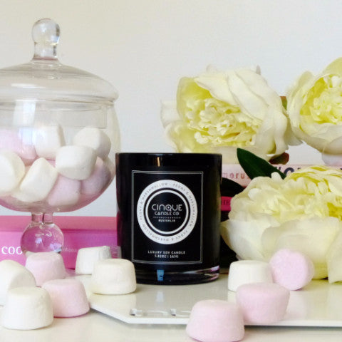 Peony and Marshmallow Candle -A luxurious classic style jar is modern and minimalist and has a burn time of 60+ hours. Hand poured in a heavy glass jar with 100% natural eco-friendly soy wax. Stocked by Mint Empire Australia
