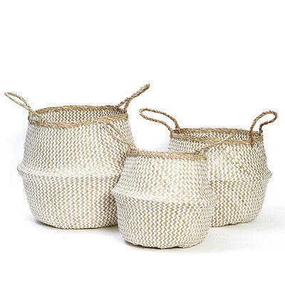 Seagrass Belly Basket Set White - Natural